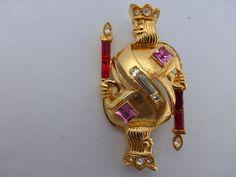 1966 TRIFARI King of Diamonds Playing Card Brooch Gold Tone Rhinestone Pin W68 #Trifari