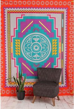Southwest Medallion Tapestry from Urban Outfitters. Saved to My room. Shop more products from Urban Outfitters on Wanelo. Urban Outfitters, Neon Home Decor, Urban Hippie, Textiles, Eclectic Decor, My New Room, Sweet Home, House Design, Crafty