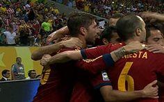 Os gols de Espanha 2 x 1 Uruguai em Pernambuco