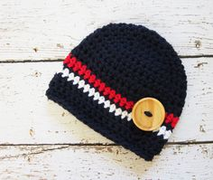 Newborn Baby Boy Hat, Beanie, Red, White, Blue, 0-3 Months. $14.00, via Etsy.
