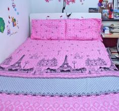 Pretty Pink Paris Eiffel Tower Sheet Set