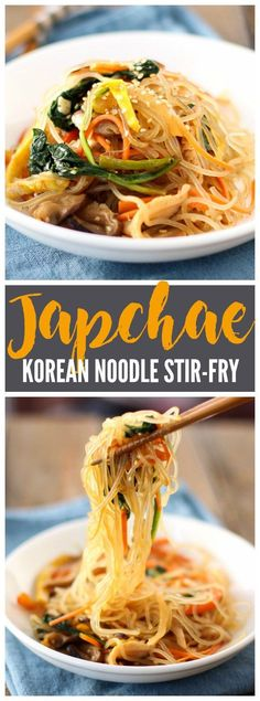 Japchae is a classic and versatile Korean stir-fry dish combining noodles, veggies, and egg, all tossed in a sweet soy dressing. |www.kimchichick.com
