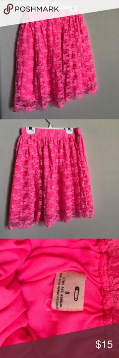 """Urban Outfitters Pink Skirt Or should I say HOT pink! Bright neon lacy pink  """"Pins & Needles"""" skirt, PERFECT for summer! Absolutely adorable cut, falls delicately on the waist to about mid-thigh. Light and airy. 92% nylon, 8% spandex. Used but in good condition. Urban Outfitters Skirts Midi"""