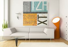Original Modern Typography Artwork Large Abstract Letters Painting