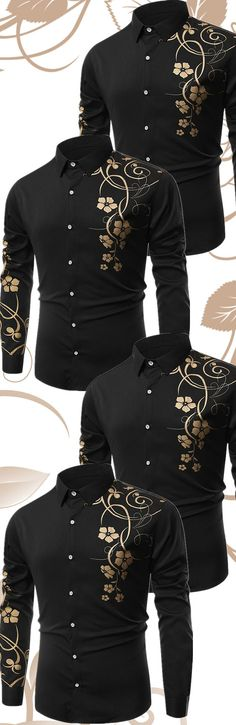 $19.80 Floral Printed Long Sleeves Shirt - Black
