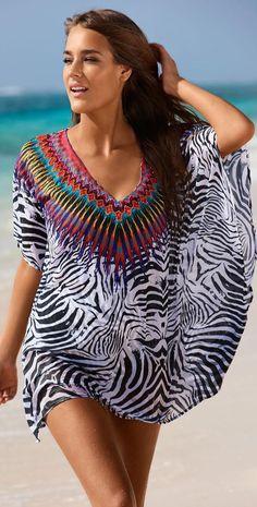 Sexy Zebra-Stripe Printed Bikini Beach Cover Up Dress