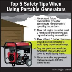 Safety Tips for Portable Generators- every disaster someone dies from running a generator inside or refilling while running. Generators are great when used properly, but can be deadly.