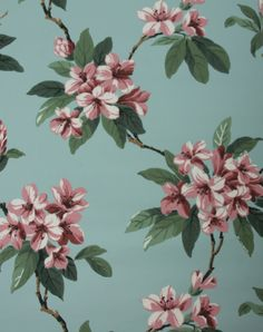 1940's Vintage Wallpaper Mauve Rhododendron on Blue