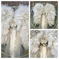♥♡ vintage ... shabby chic ruffle lace gem wings