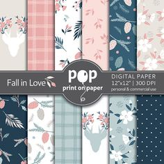 Floral Digital Paper FALL IN LOVE stylish by POPprintonpaper