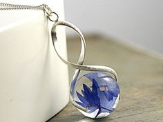 Sterling real cornflower twisted necklace