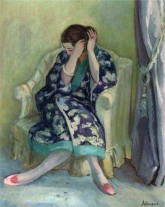 Lebasque, Henri (Franc, 1865-1937) - Woman Adjusting her Hair - s.d.