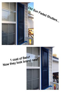 Repainted Vinyl Shutters... Very Easy!  Clean, tape, 1 coat of paint!