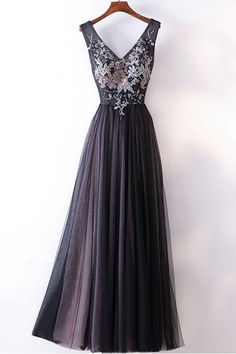 Prom Dresses,new fashion Prom Dresses,Spring black tulle V neck long embroidery evening dress, long black pageant dress