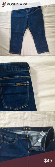 Michael Kors dark wash skinny jean capris 76% cotton 23% polyester 1% elastane  Michael Kors Overdyed Cropped Skinny Jeans Dark Wash Michael Kors Jeans Skinny