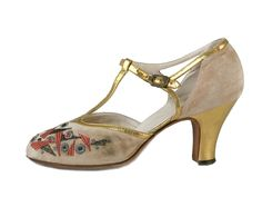 1920s Carcion-Manfre & Co. ... Evening Sandals In Ivory Embroidered Velvet With Gold Leather Lame T-straps with side rhinestone buckles.