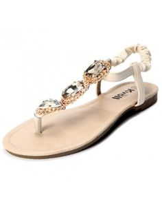 859a1c5646e9 Faux Leather Rhinestone Embellishment Flat Sandals Sandals For Sale