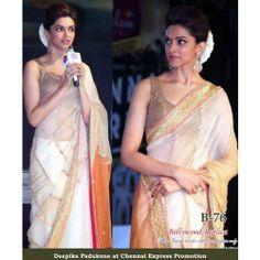 Deepika Padukone, Full Net Saree with blouse    RFB-76