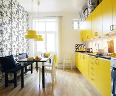 """Yellow kitchen and yellow """"Bumling"""" from Ateljé Lyktan."""