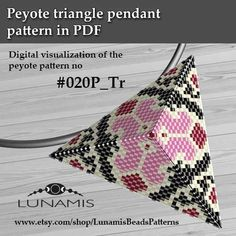 Peyote triangle patterns, pattern for triangle pendant, peyote patterns, beading, peyote stitch, digital file, pdf pattern #020P_Tr