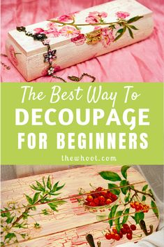 Learn how to decoupage for beginners with this video tutorial that shows you the best way using Mod Podge for a wrinkle and bubble free result. Decoupage Tins, Decoupage Wood, Napkin Decoupage, Decoupage Tutorial, Decoupage Vintage, How To Decoupage Furniture, Diy Crafts Vintage, Diy Mod Podge, Mod Podge Crafts
