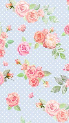 Blue vintage Floral dots iphone phone wallpaper background