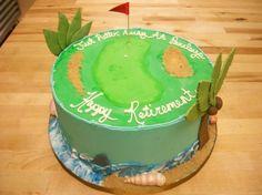 Golf Course & Beach Retirement Cake