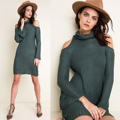 """Dyed Carnations"" Cold Shoulder Turtleneck Dress Knitted cold shoulder turtleneck dress. Available in hunter green and taupe. This listing is for the HUNTER GREEN. Brand new. True to size. 100% rayon. NO TRADES DON'T ASK. Bare Anthology Dresses Mini"