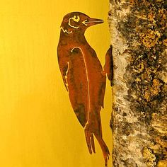 Rusty Metal Woodpecker Bird Silhouette Accent for Inside or Out,Porch,Fence Metal Tree Wall Art, Metal Art, Wood Art, Country House Design, Cat Garden, Garden Whimsy, Metal Garden Art, Metal Birds, Tree Wall Decor
