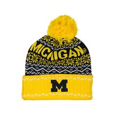 Top Of The World Michigan Wolverines College Ugly Sweater Knit Hat ($2.99) ❤ liked on Polyvore featuring accessories, hats, yellow, yellow beanie, embroidered beanie hats, yellow hat, knit beanie hats and yellow beanie hat