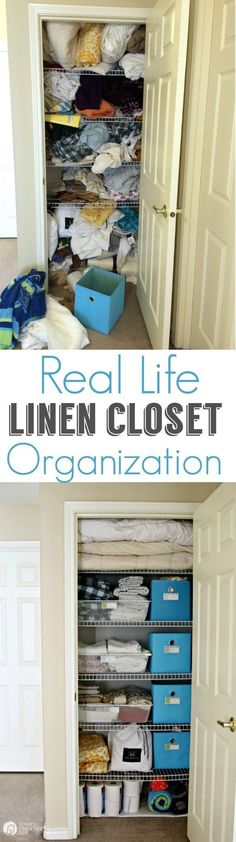 Organized Linen Closet for Real Life | Functional and pretty rarely collide, organize a linen closet for real life isn't going to be magazine ready, but you'll love it! See more on http://TodaysCreativeLife.com