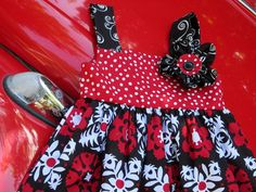 Reversible Knot Dress Black and white and red all by gumdroptree, $30.00