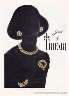 Trifari ad (1956). Vintage jewelry ad. inspiration brought to you by www.aussiebeader.com