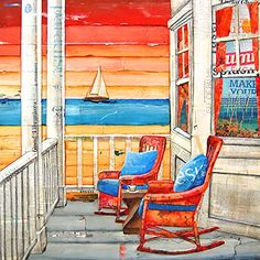 """Paradise Found- Danny Phillips art print, UNFRAMED, sailboat ocean rocking chairs couple sun coastal beach nautical mixed media art wall & home decor poster, ALL SIZES. This is a reproduction fine art print of a Danny Phillips' original mixed media painting. This poster comes UNFRAMED and is the perfect gift for the coastal lover. This print comes square with flush edges or in standard sizes with 1/2"""" side white border backgrounds.**See pictures for examples**.This gift is an ideal…"""