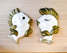 1950s  Kissing Fish Wall Plaques  Atomic Kitsch  by BeeJayKay,