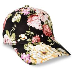 Women s Xhilaration® Floral Baseball Hat - Black   Target ❤ liked on  Polyvore featuring accessories 1fcb85c0565f