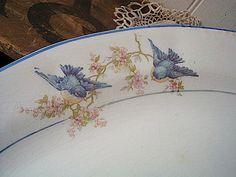 1920s china dishes | SALE Vintage 1920s Bluebird China platter large - Saxon China Ohio ...