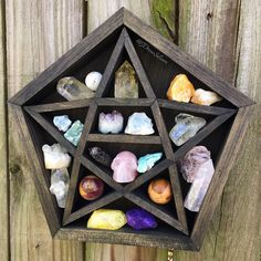 Star-Shaped Crystal Display Pentagram Shelf ($83) ❤ liked on Polyvore featuring home, home decor, small item storage, handmade home decor, star home decor, tree home decor, crystal tree and crystal home decor