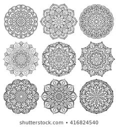 Set of mandalas for coloring book. Yoga logos, backgrounds for meditation poster. Coloring Books, Coloring Pages, Unusual Flowers, Mandala Drawing, Flower Shape, Stone Art, Design Elements, Royalty Free Stock Photos, Vectors