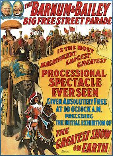 Vintage Barnum & Bailey Circus Poster.  All I recall was the traveling circus coming to a nearby town. The big draw for me was the midgets or 'little people.'  I thought they were wildly exotic with the show ladies in ball gowns and furs and they all rode in a Cadillac!  sth