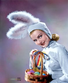Lynn Merrick (1919-2007), Hollywood B-movies starlet posing as theEaster Bunny , 1940s, Colorized by Alex Y. Lim