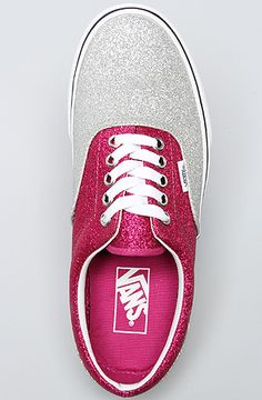 Vans Footwear The Era Sneaker in Magenta and Silver Glitter