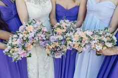 Bouquets Bride Bridesmaids Roses Lavender Pretty Purple Pastels Country Wedding http://www.nataliejweddings.com/