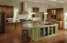 Explore Merillat Cabinets, your preferred source for exquisite kitchen and bath cabinets and accessories, design insipiration, and useful space planning tools. Two Tone Kitchen Cabinets, Kitchen Cabinet Styles, Kitchen Cabinetry, Cabinets And Countertops, Black Countertops, Look Vintage, Home Kitchens, Dream Kitchens, Beautiful Kitchens