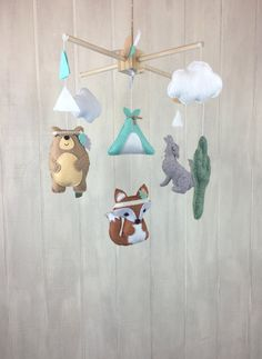 Baby mobile tribal mobile fox mobile by JuniperStreetDesigns