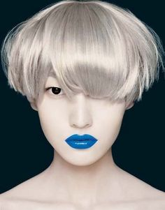Short Hair With Blue Lips    #shorthairstyles #hair