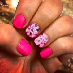 Pink nails with flowers nail art for short nails