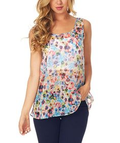 Love this Light Blue Sheer Floral Sleeveless Top by Pinkblush on #zulily! #zulilyfinds