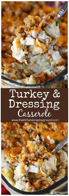 Turkey & Dressing Casserole | 1 8 oz Pkg Stuffing Mix, 1/2C Butter Melted, 1C Chicken Broth, 4C Chopped Cooked Turkey, 3/4C Chopped Onion, 1/2C Chopped Celery, 1/2C Mayo, 1/2t Salt, 2 Eggs, ½C Milk,1C Shredded Cheddar. Mix stuffing, butter & broth. Mix turkey, onion, celery, mayonnaise & salt. In dish layer stuffing, turkey, stuffing. Pour in beaten eggs & milk. Cover w/ foil: chill 4 hrs. Remove foil & bake 45 min at 350. Top w/ cheese & bake 10–15 min. | thekitchenismyplayground.com