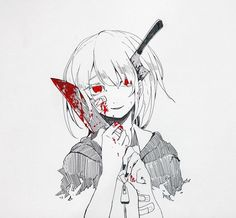 Sad Anime Girl, Anime Art Girl, Ero Guro, Yandere Girl, Blood Art, Dark Pictures, Sad Art, Creepy Art, Dark Anime